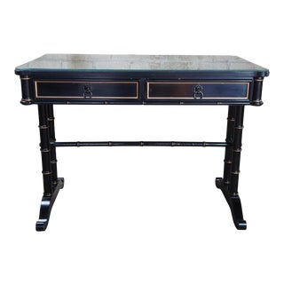 Campaign Baker Furniture Black Lacquor Gold Writing Desk For Sale