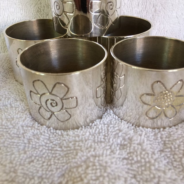 Two Sets of Aukey Silver Plated Napkin Rings - Group of 9 For Sale - Image 4 of 12