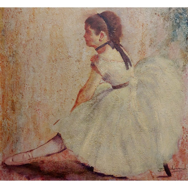 Americana Female Dancer Stretching - Oil Painting For Sale - Image 3 of 9