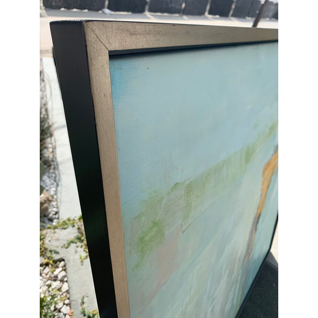 Original, signed abstract painting in floating silver gilt frame. Oil on canvas.