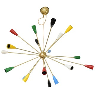 Sputnik Brass Chandelier with 18 Shades For Sale