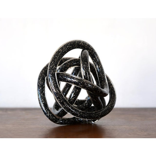 Vintage Black Murano Abstract Twisting Blown Glass Tube Sculpture For Sale In San Francisco - Image 6 of 10
