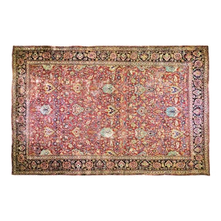 """Vintage Persian Mashad Hand Knotted Organic Wool Fine Weave Distressed Texture Rug,9'8""""x15'4"""" For Sale"""