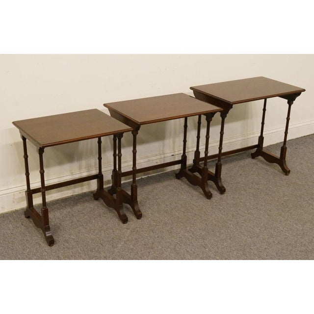 Ethan Allen Georgian Court Nesting End / Accent Tables - Set of 3 For Sale In Kansas City - Image 6 of 13