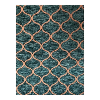 Turquoise Chenille Upholstery Fabric Moroccan Inspired Pattern 1 Yard For Sale