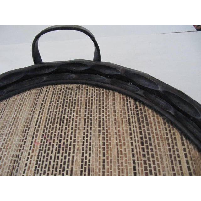 Palecek Extra-Large Palecek Carved Wood Tray With Grass Cloth Insert For Sale - Image 4 of 7