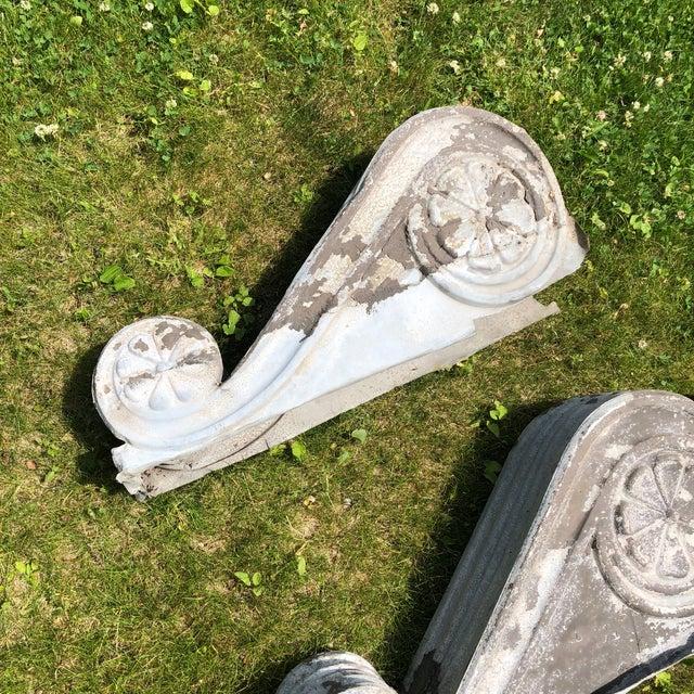 "Antique Victorian Era Large 30"" Zinc Distressed Decorative Corbels - Set of 3 For Sale - Image 4 of 13"