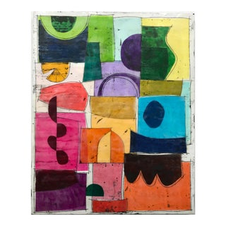 "Gina Cochran ""Bright Shiny Things"" Original Encaustic Collage Painting For Sale"