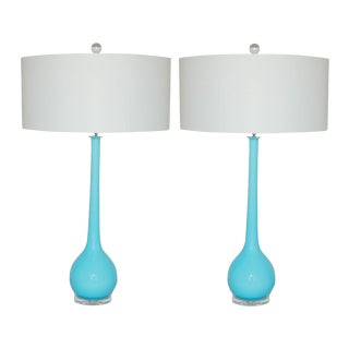Vintage Murano Glass Long Neck Table Lamps Blue For Sale