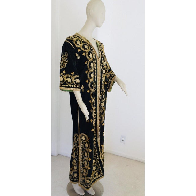 Vintage Caftan, Black Velvet and Gold Embroidered, 1960s For Sale - Image 13 of 13