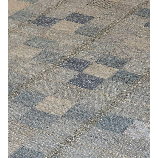 MANSOUR Hand-Woven Swedish Kilim Style Wool Rug For Sale - Image 4 of 7
