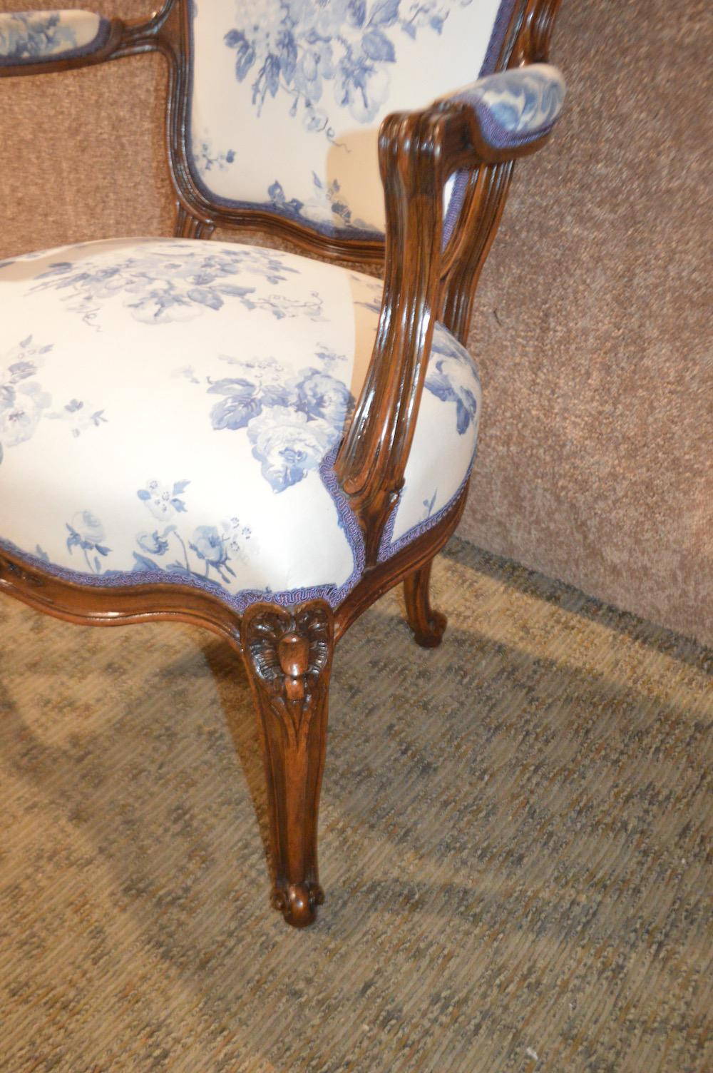 1960s French Style Blue U0026 White Floral Fabric Walnut Accent Chair   Image 2  Of 13