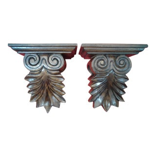 Vintage Hand Carved Wood Curtain Sconces - a Pair For Sale