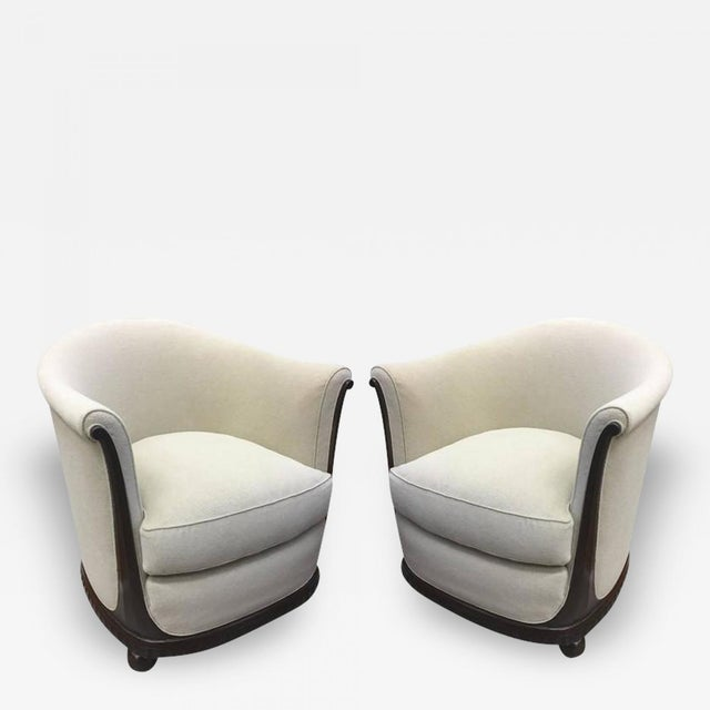 Tan Jules Leleu Stamped Rarest Pair of Early Art Deco Chairs Newly Covered in Mohair For Sale - Image 8 of 8