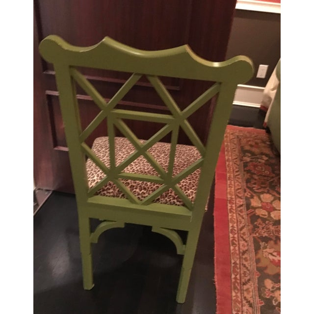 Custom Chinese Chippendale Green Chairs - Set of 10 - Image 6 of 11