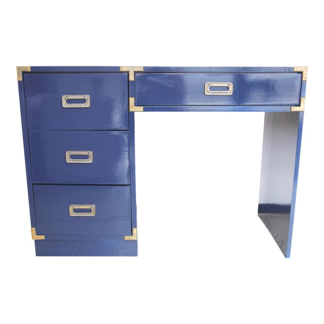 Navy Campaign-Style Desk - Image 1 of 7