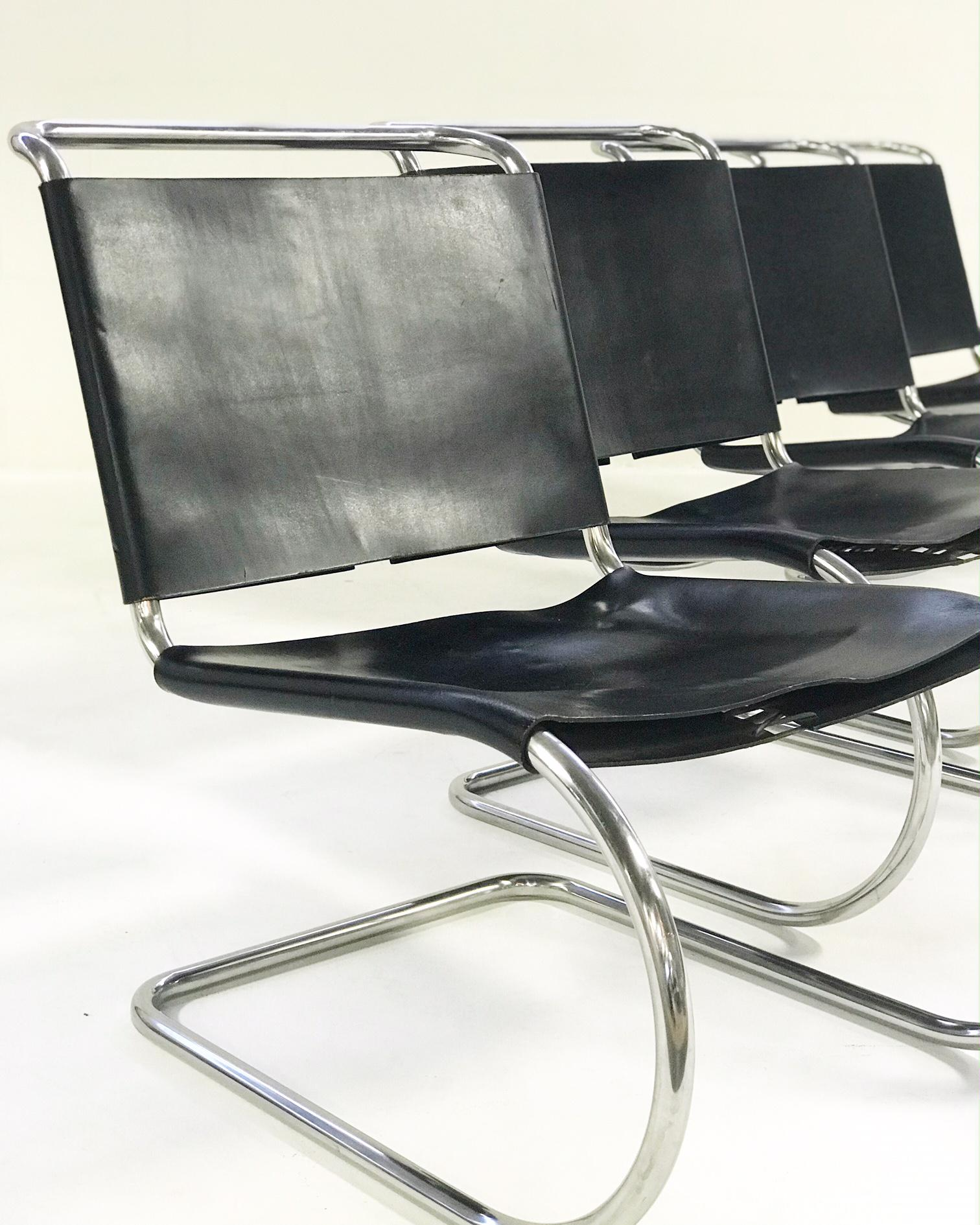 Ludwig Mies Van Der Rohe For Knoll MR Chairs With Brazilian Sheepskins    Set Of 4