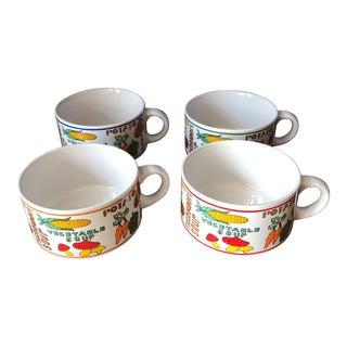 Colorful Vintage Vegetable Soup Bowls - Set of 4