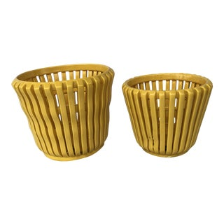 Mid-Century Modern Yellow Planters- A Pair For Sale