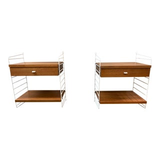 1961 Nils Strinning for String Design/Sweden Wall Mounted Teak + Wire Rod Nightstands - a Pair For Sale