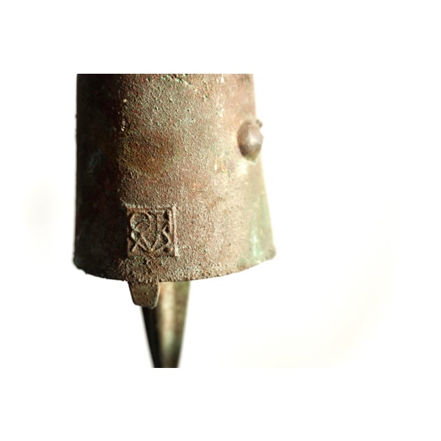 Early Paolo Soleri Original Bronze Wind Chime | Brutalist Bronze Soleri Bell | Consanti Geometric Garden Windbell For Sale In Los Angeles - Image 6 of 12