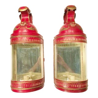 "French Red Tole ""Casque Militaire"" Candle Lanterns/Sconces - a Pair For Sale"