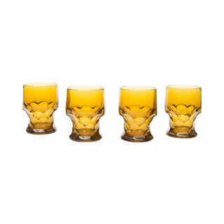 Mustard Colored Vintage Glasses - Set Of 4 For Sale