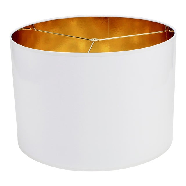 White High Gloss Drum Lamp Shade With Gold Lining For Sale