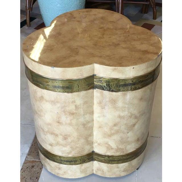 Bernhard Rohne 1970s Mid-Century Modern Mastercraft Bernard Rohe Decorated Drum Table For Sale - Image 4 of 13