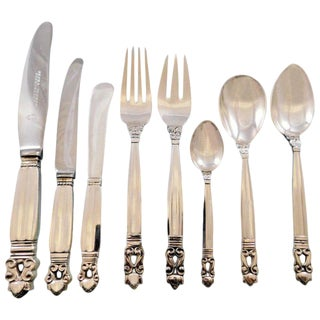 Acorn by Georg Jensen Danish Sterling Silver Flatware Set for 8 Service 64 Pcs For Sale