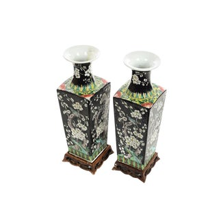 Chinese Famille Noire Set of 2 Beautiful Porcelain Vases For Sale