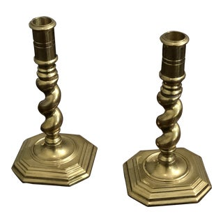 Barley Twist Candlesticks - a Pair For Sale
