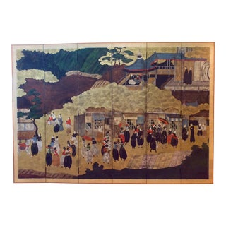 "Hand Painted 6 Panel Namban Byobu Japanese Baroque Period ""Portuguese Arrival in Japan"" Motif Screen For Sale"