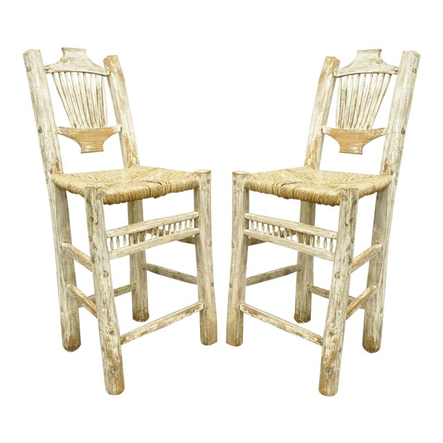 2 Rustic Country Log Cabin Wood Branch Rush Seat Bar Stools Chair Hickory Style For Sale