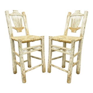 Hickory Style Rustic Country Log Cabin Wood Branch Rush Seat Bar Stools - a Pair
