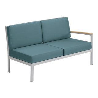 Modular Outdoor Loveseat, Natural and Blue For Sale