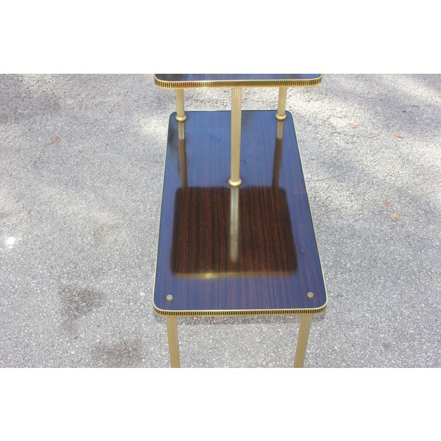 1940s Art Deco Mahogany and Brass Gueridon Side Table For Sale In Miami - Image 6 of 13