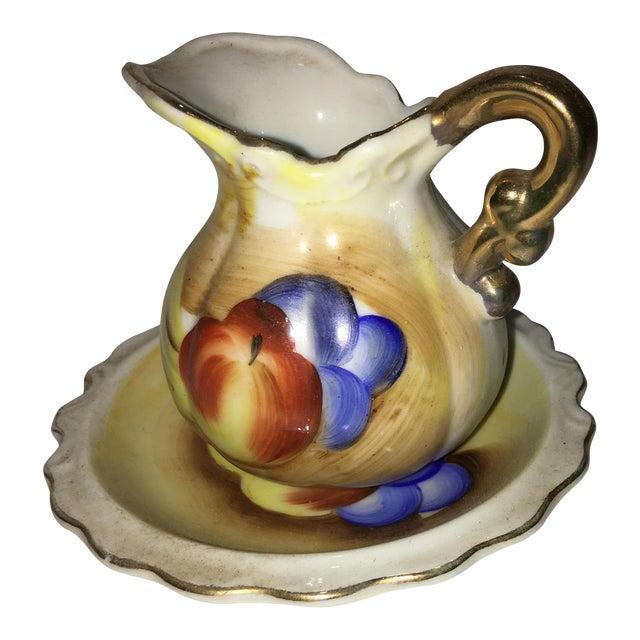 Vintage Porcelain Fruit Motif Creamer & Dish - A Pair For Sale