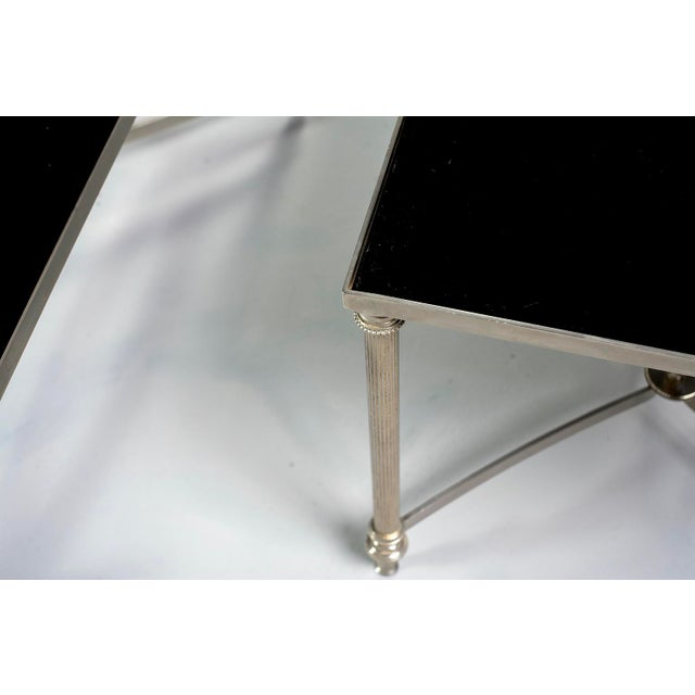 French Maison Baguès Style Black Glass Top Cocktail Tables - Pair For Sale In Detroit - Image 6 of 11