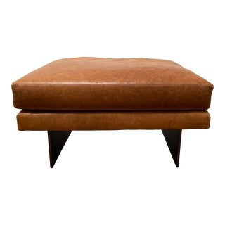 """Mid-Century Ransom Culler for Thayer Coggin Cognac Brown Leather With Dark Bronze Base """"Blade"""" Ottoman For Sale"""