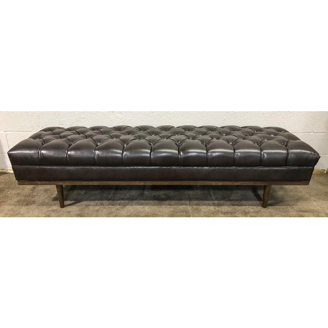 Mid Century Modern Chesterfield Tufted Walnut Bench - Image 2 of 6