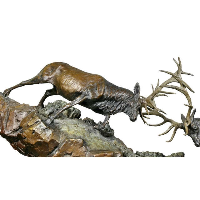 """Western Bronze of Elk """"Forces of Nature"""" by Ken Rowe For Sale In Boston - Image 6 of 13"""