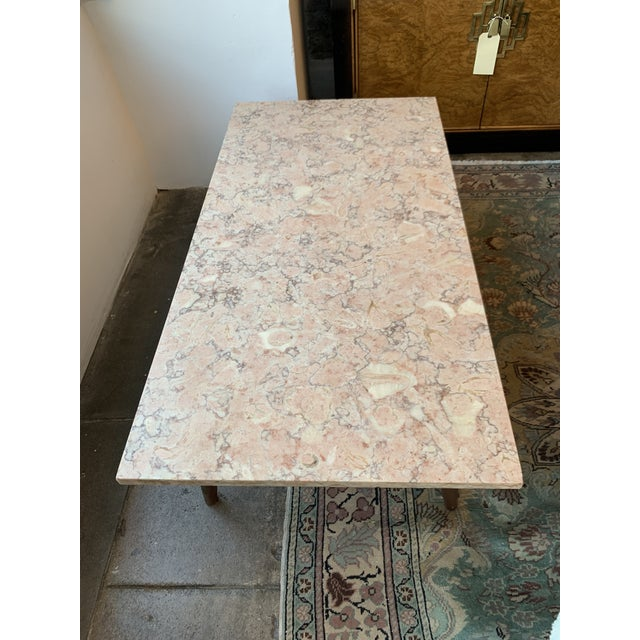 Mid-Century Modern Pink Marble Coffee Table For Sale - Image 9 of 12