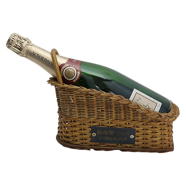 French bistro wine pouring basket. Bottle is held tightly in place for pouring. No maker's mark. Light wear.