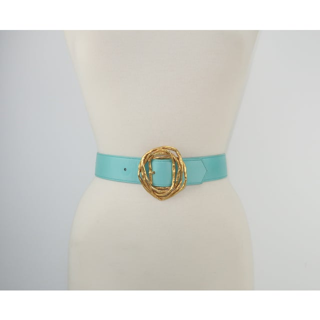 French Christian Lacroix Sculptural Gold Tone Buckle & Aqua Leather Belt For Sale - Image 3 of 12