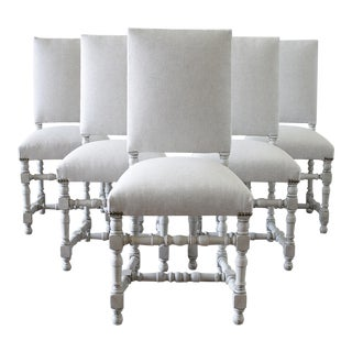 French Style Upholstered Dining Chairs - Set of 6 For Sale