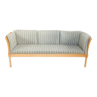 1960s Mid-Century Modern Light Gray Pinstriped Sofa