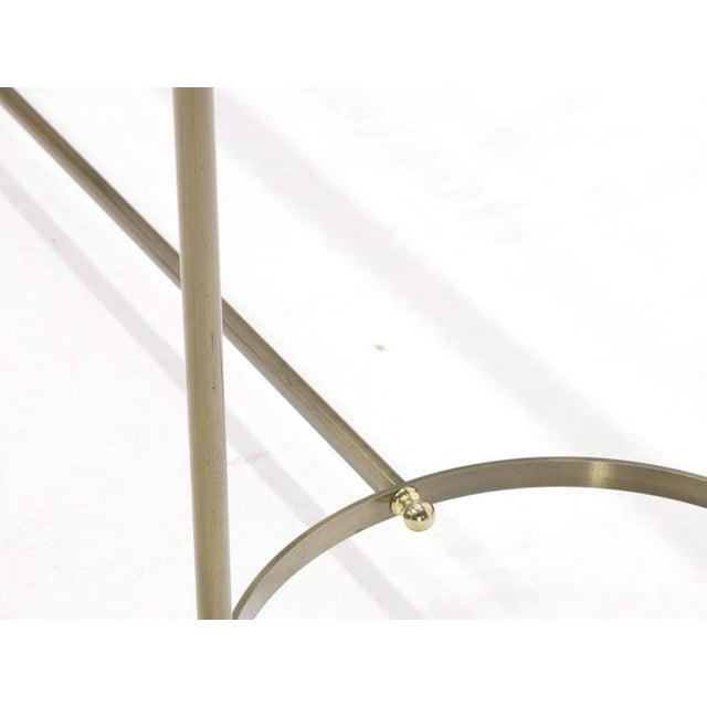 Midcentury Two-Tone Metal Brass and Steel Arch Stretcher Console Sofa Table For Sale - Image 10 of 12