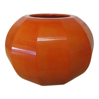 Robert Persimmon Kuo Hand Blown Peking Glass Jarlet Vase, Signed For Sale