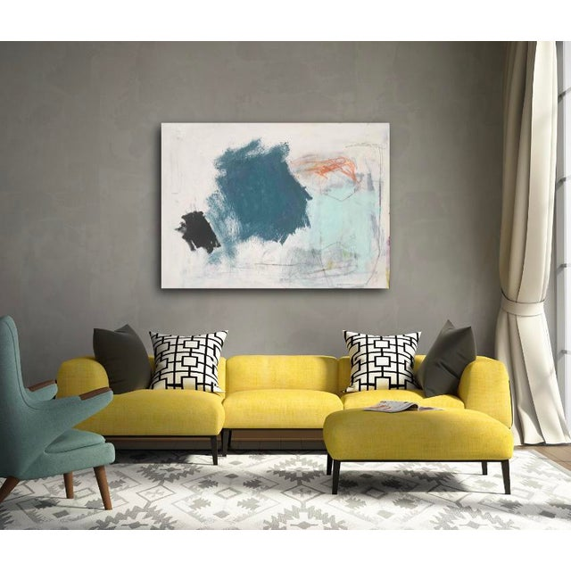 Delicate gestural marking in pastel and graphite juxtaposed with bold dramatic splashes of paint create a sense of balance...